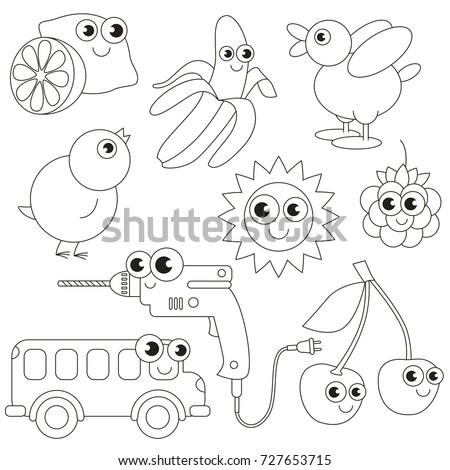 Objects To Be Yellow Colored Elements Set Collection Of Coloring Book Template The Group