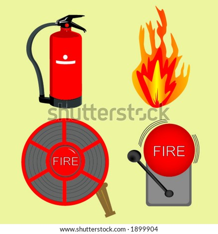 Objects used in firefighting. A vector file easy to edit. - stock vector