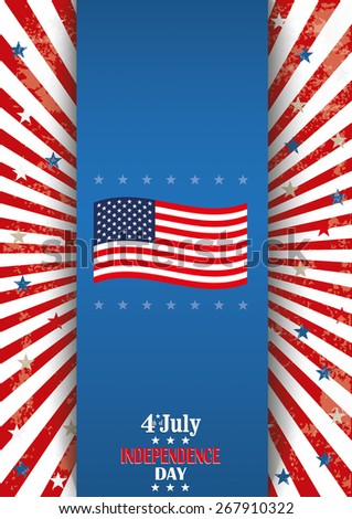Oblong flyer design for 4th of july independence day. Eps 10 vector file. - stock vector