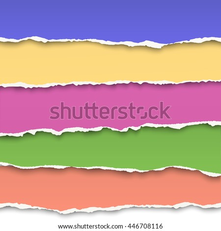 Oblong layers of torn color paper - stock vector