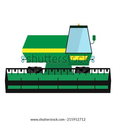 Obsolete green harvester - stock vector