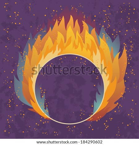 Obstacle in the form of a ring in the fire - stock vector