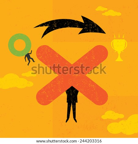 Obstacle Overcomer An 0 maneuvering over an X to achieve his goal. The people and background are on separate labeled layers. - stock vector