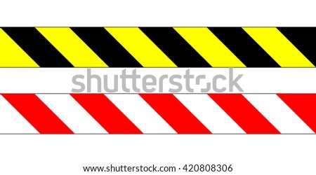 Obstacles warning sign set, dangerous location sign set , warning stripes sign , vector illustration - stock vector