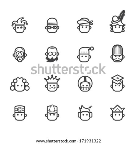 occupation black icon set 2 on white background - stock vector