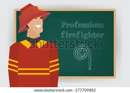 Occupation, firefighter profession. Man in fire dept uniform standing at chalk board. Vector illustration - stock vector