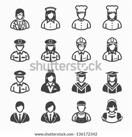 Occupation Icons and People Icons with White Background - stock vector