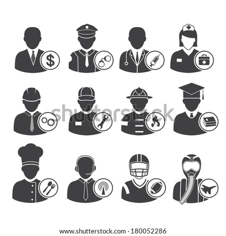 Occupation icons set, vector illustration - stock vector