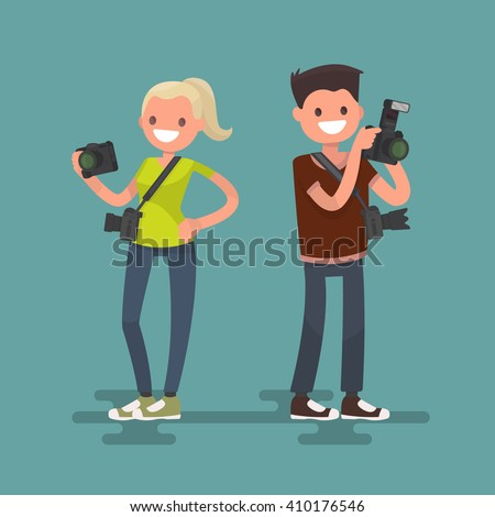 Occupation photographer. Man and woman with cameras - stock vector