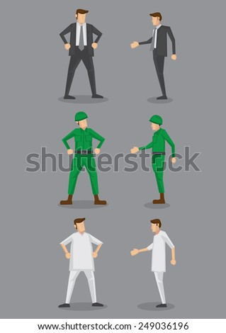 Occupation vector icon set for office worker, soldier and nurse in front and side view isolated on grey background - stock vector