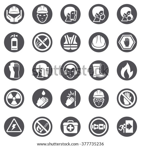 Occupational Safety and Health Icons - stock vector