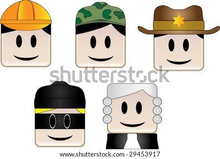 Occupations Icons - stock vector