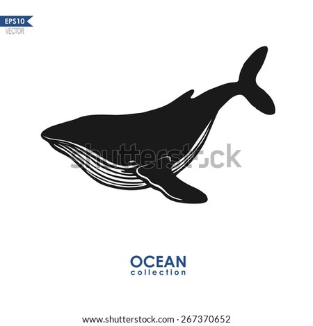 ocean collection, big blue whale isolated on white, black and white vector design - stock vector