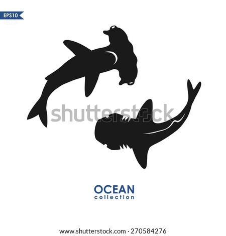 ocean collection: big white shark and hammerhead shark, isolated on white, animal silhouette - stock vector