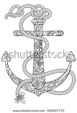Ocean Coloring Page Anchor Stock Photo Photo Vector Illustration
