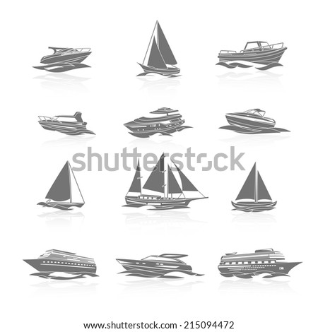Ocean cruise liner ship and sailboat yachts boats silhouettes black pictograms collection abstract graphic isolated vector illustration - stock vector