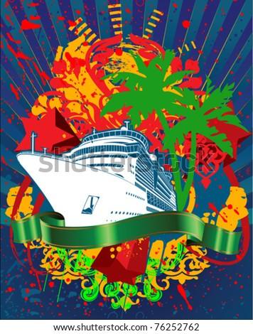 Ocean Cruise Liner Splash And Green Banner - stock vector