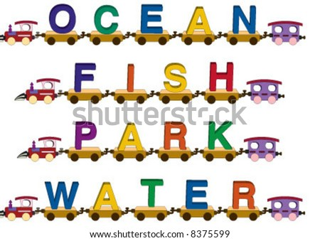 Ocean, fish, park, water words on the toy train - stock vector