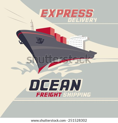 Ocean freight shipping and international cargo shipping, vintage illustration - stock vector