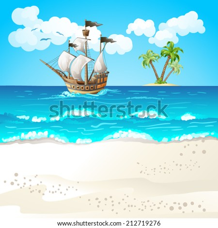 Ocean-going ship  - stock vector