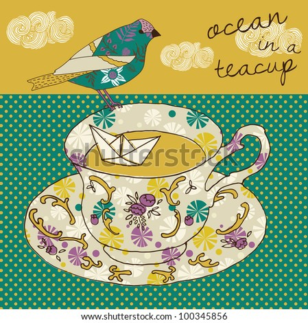 Ocean in a teacup - stock vector