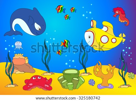 Ocean inhabitants and submarine. jellyfish, starfish, sea-horse, reefs and corals in the ocean. Vector illustration - stock vector