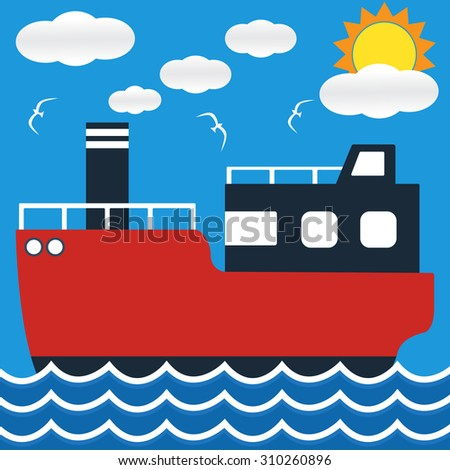 Ocean liner boat ship at sea view in day with big sun and wave. flat design vector illustration. - stock vector