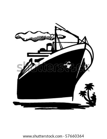 Ocean Liner Cruise Ship Retro Clip Stock Vector 57660364