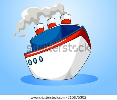 Ocean liner on blue background illustration - stock vector