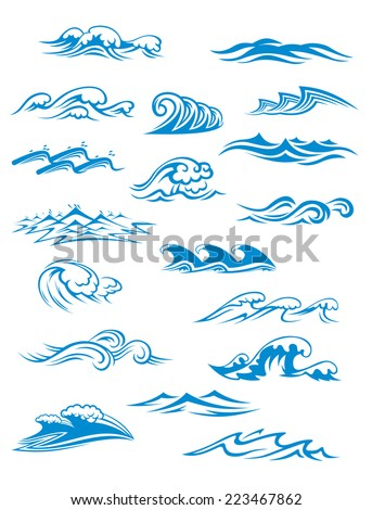 Ocean or sea waves, surf and splashes set curling and breaking in a pretty turquoise blue for marine and nautical themed concepts, vector illustration on white - stock vector