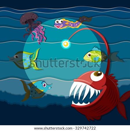 Ocean scene with sea monsters illustration - stock vector