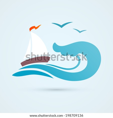 Ocean sea water wave with sailing ship and seagull vector illustration - stock vector