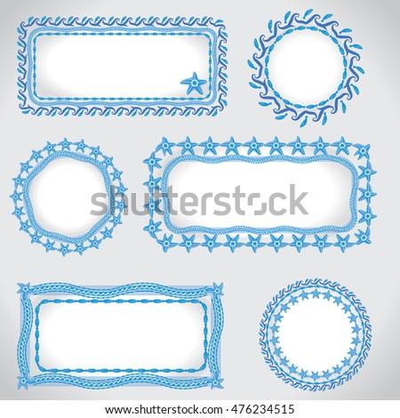 Ocean Stile Frames Stock Vector 476234515 - Shutterstock