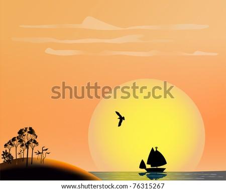 ocean sunset vector; tropical scene - stock vector