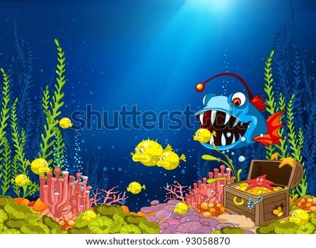 Ocean Underwater Cartoon. Coral Reef with Alga and Fish. Vector. - stock vector