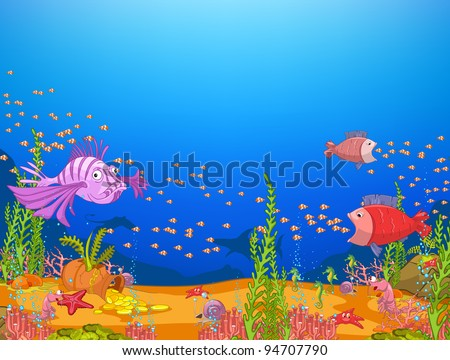 Ocean Underwater World Cartoon. Coral Reef with Alga and Fish. Vector. - stock vector