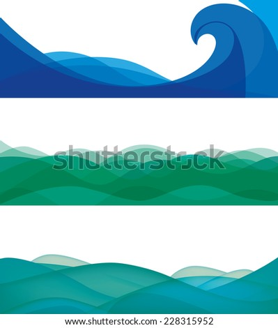 ocean vector banners stylized waves template stock vector royalty