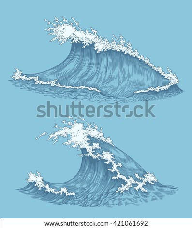 Ocean waves. Design set. Hand drawn engraving. Vector vintage illustration. Isolated on color background. 8 EPS - stock vector