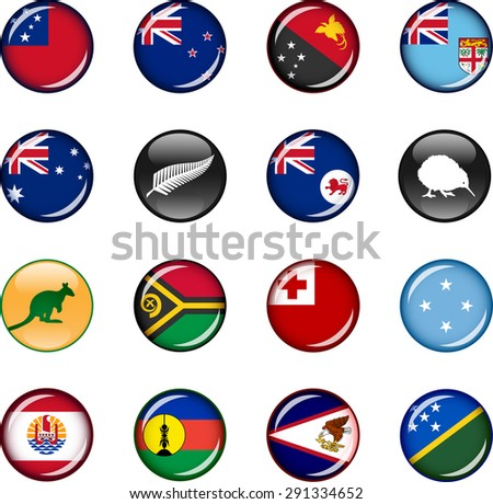 Oceania and Melanesia Flag Icons. Set of vector graphic glossy icons representing countries and regions in Oceania and Melanesia.