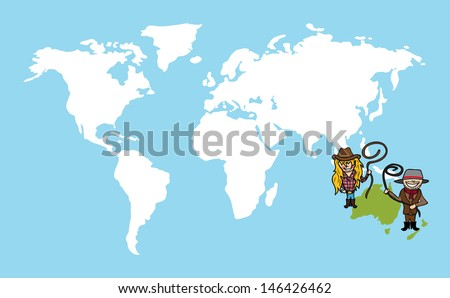 Oceania continent cartoon people with distinctive clothing. Vector illustration layered for easy editing. - stock vector