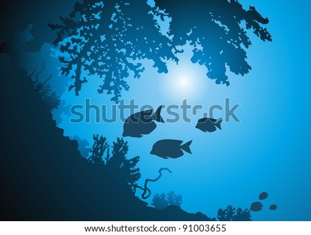 Oceanic corals and jambs of fishes against the sun - stock vector