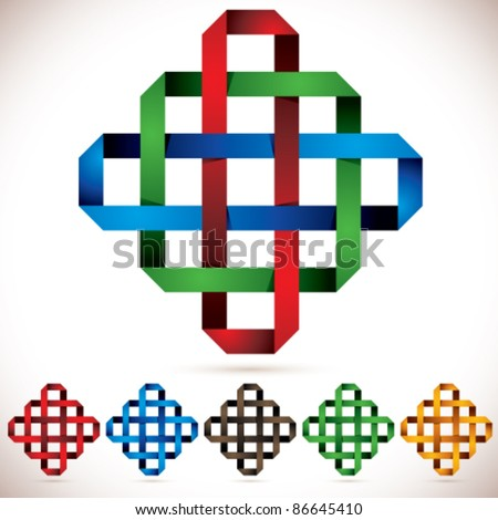Octagonal icon of crossed colorful red green blue stripes with different colors set. - stock vector