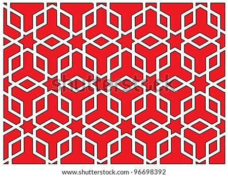 Octagonal polygon ornament with stars. Vector illustration. - stock vector