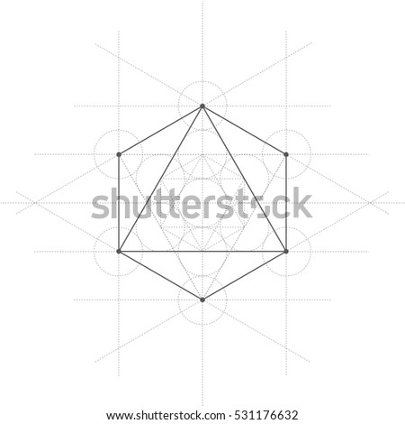 Octahedron A Vector Illustration Of With Lines On White Background