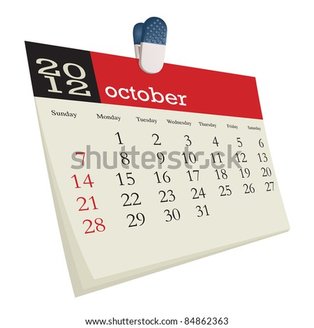 october 2012 - stock vector