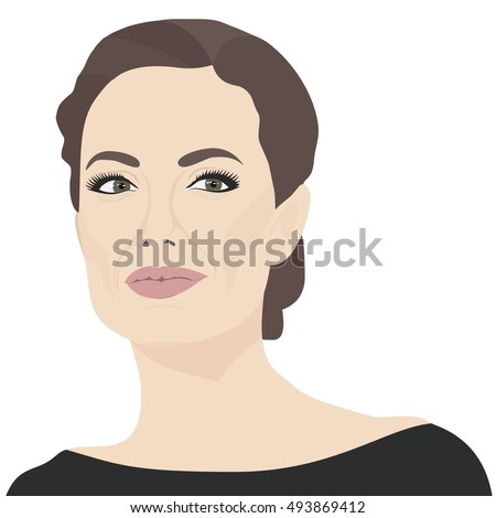 OCTOBER 05, 2016: A vector illustration of a portrait of American actress, filmmaker, and humanitarian Angelina Jolie Pitt.