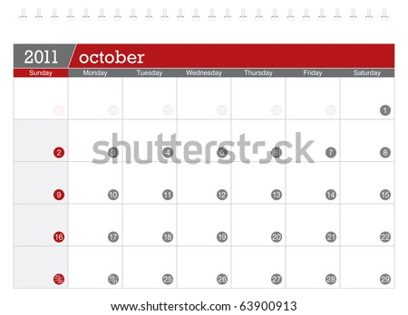 October 2011 Calendar - stock vector