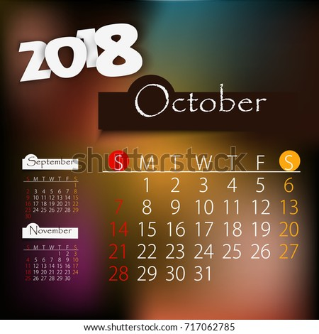 october editable calendar 2018