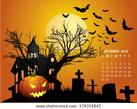 October Calendar - Halloween 2016 - stock vector