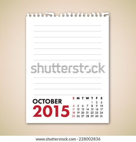 October 2015 Calendar Note Paper Vector  - stock vector